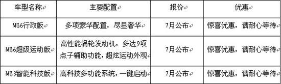 宁枫将独家推出MG6、MG3全新车型