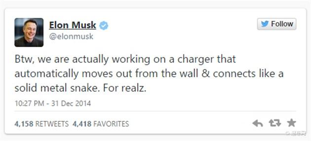 马斯克宣布研发自动充电设备 将成为标配
