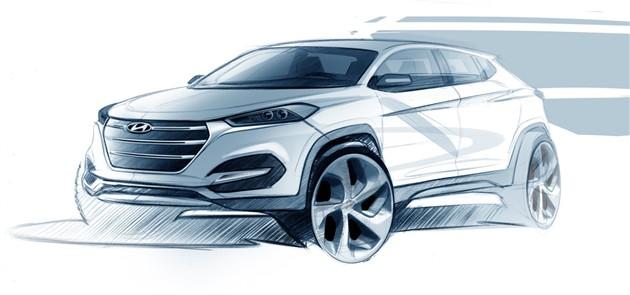 曝现代全新ix35设计草图 日内瓦车展首发