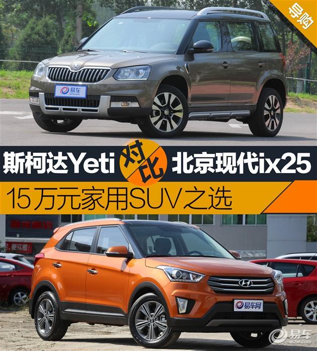 斯柯达Yeti对比现代ix25 15万家用SUV之选