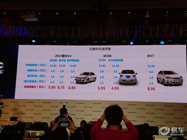 江淮2017款iEV4上市 售12.85-13.85万元