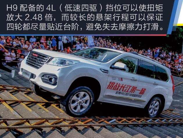 H9的四驱系统源自博格华纳,拥有2H两驱高速、4H四驱高速、4L四驱低速三种驱动模式,正常情况下采用后轮驱动模式。此外,H9还配备全地形反馈系统,在顶配车型上还配有多片离合器式结构的后桥轮间限滑差速器。4L四驱低速模式低扭放大2.48倍,搭配高功率大扭矩发动机,可以轻松攀爬60%的坡度。