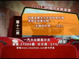 2010年中国汽车风云榜第12周榜单