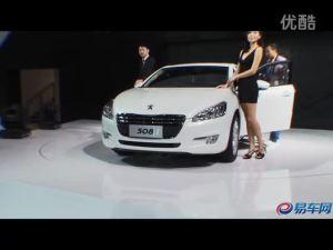 2011广州车展 东风标致508黑衣妩媚模特