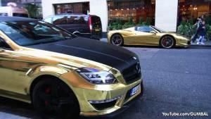 街拍黄金电镀法拉利458&奔驰CLS63 AMG