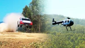 现代i20 WRC拉力赛车 正面迎战直升机