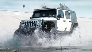 Jeep牧马人换装霸气轮毂 湿滑路面撒野