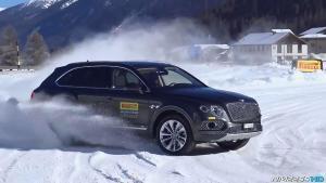 宾利添越雪地漂移 豪华SUV大功率爆发