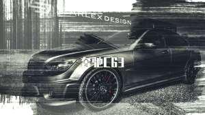 奔驰C63哑光暗黑冷酷系风格内饰