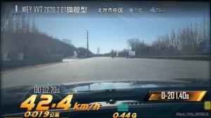 2020款VV7 0-100km/h加速仅为8.7秒