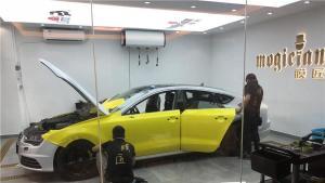 奥迪A7改色柠檬黄施工作业视频-深圳膜匠出品